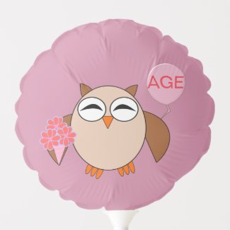 Custom Age Birthday Owl Balloon