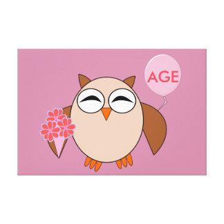 Custom Age Birthday Owl Canvas Print