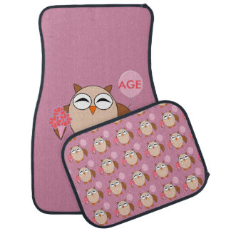 Custom Age Birthday Owl Car Mat Set