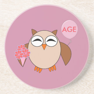 Custom Age Birthday Owl Coasters