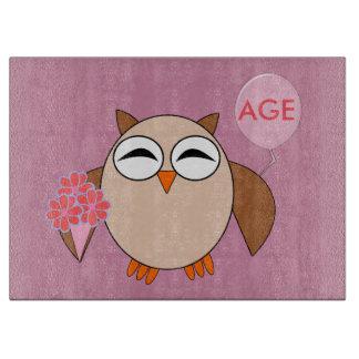 Custom Age Birthday Owl Cutting Board