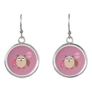 Custom Age Birthday Owl Drop Earrings