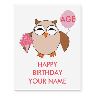 Custom Age Birthday Owl Giant Temporary Tattoo
