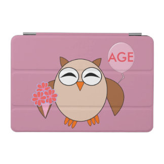 Custom Age Birthday Owl iPad Mini Cover
