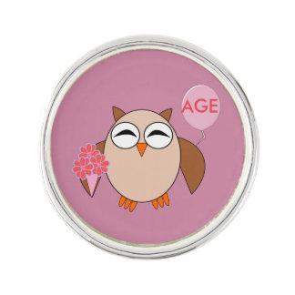 Custom Age Birthday Owl Lapel Pin
