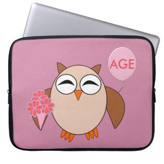 Custom Age Birthday Owl Laptop Bag