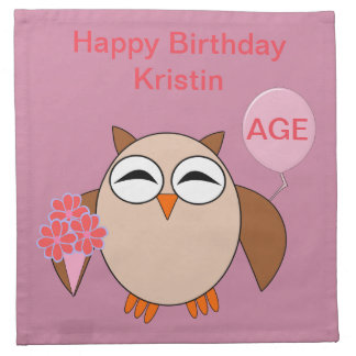 Custom Age Birthday Owl Napkins