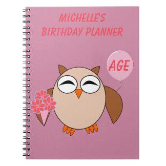 Custom Age Birthday Owl Notebook