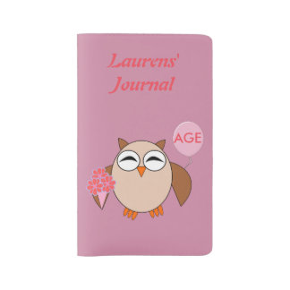 Custom Age Birthday Owl Notebook cover