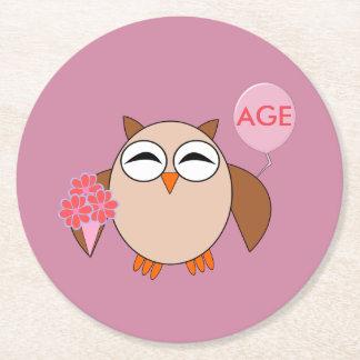 Custom Age Birthday Owl Paper Coasters