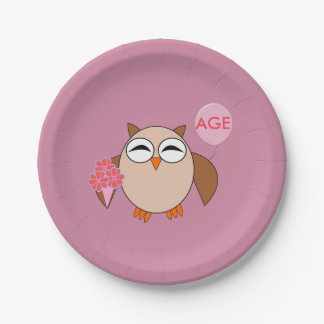 Custom Age Birthday Owl Paper Party Plates