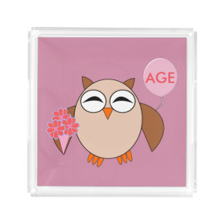 Custom Age Birthday Owl Perfume Tray