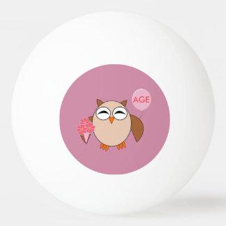 Custom Age Birthday Owl Ping Pong Ball