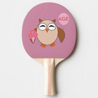 Custom Age Birthday Owl Ping Pong Paddle