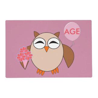 Custom Age Birthday Owl Placemat