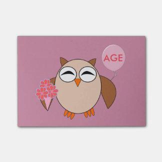 Custom Age Birthday Owl Post it notes Pad