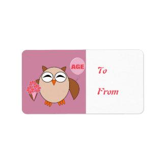 Custom Age Birthday Owl Present Labels
