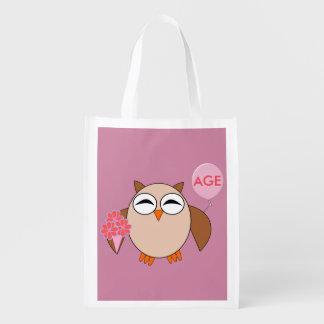 Custom Age Birthday Owl Reusable Bag