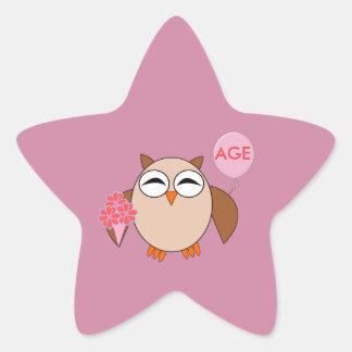 Custom Age Birthday Owl Stickers