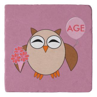 Custom Age Birthday Owl Stone Trivet