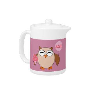 Custom Age Birthday Owl Teapot