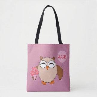 Custom Age Birthday Owl Tote Bag
