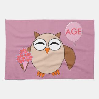 Custom Age Birthday Owl Towel