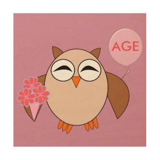 Custom Age Birthday Owl Wood Canvas