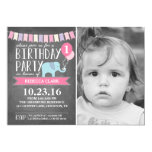 Custom Age Elephant Birthday Party | Birthday 13 Cm X 18 Cm Invitation Card