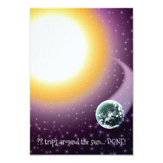 Custom Age Orbits Around the Sun 9 Cm X 13 Cm Invitation Card