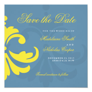 Custom air force and white damask save the date invitation