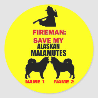 Custom Alaskan Malamute Fire Safety Classic Round Sticker