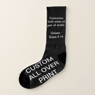 CUSTOM ALL OVER PRINT LARGE BLACK SOCKS 1