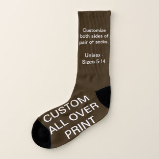 CUSTOM ALL OVER PRINT LARGE BROWN SOCKS 1