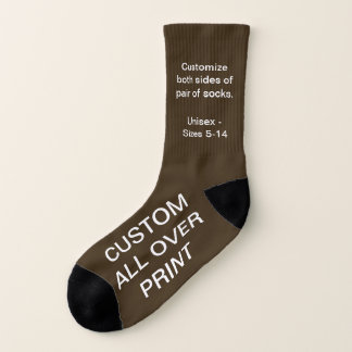 CUSTOM ALL OVER PRINT SMALL BROWN SOCKS 1
