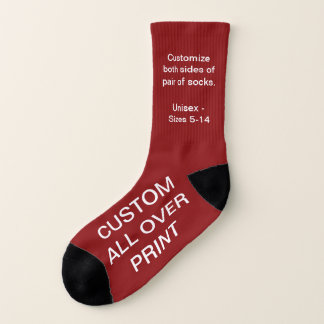 CUSTOM ALL OVER PRINT SMALL RED SOCKS 1