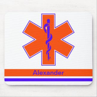 Custom Ambulance Orange and Blue Star of Life Mouse Mat