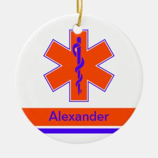 Custom Ambulance Orange and Blue Star of Life Round Ceramic Decoration