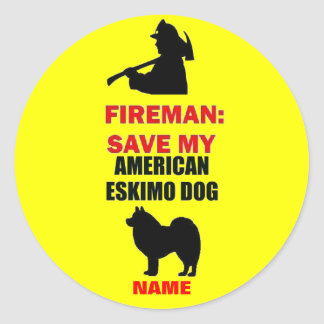 Custom American Eskimo Dog Fire Safety Classic Round Sticker