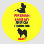 Custom American Eskimo Dog Fire Safety Round Stickers