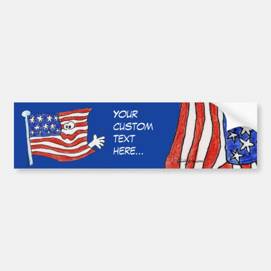 Custom American Flag Bumper Sticker