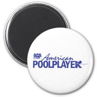Custom American Pool Player - Blue 6 Cm Round Magnet