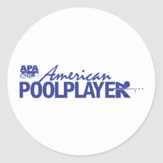 Custom American Pool Player - Blue Classic Round Sticker