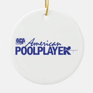 Custom American Pool Player - Blue Round Ceramic Decoration