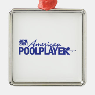 Custom American Pool Player - Blue Silver-Colored Square Decoration