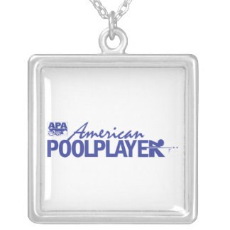 Custom American Pool Player - Blue Square Pendant Necklace