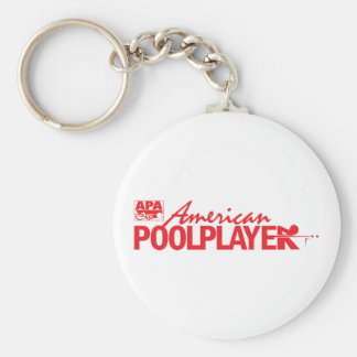 Custom American Pool Player - Red Basic Round Button Key Ring