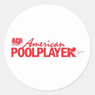 Custom American Pool Player - Red Round Sticker