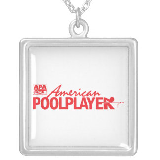 Custom American Pool Player - Red Square Pendant Necklace
