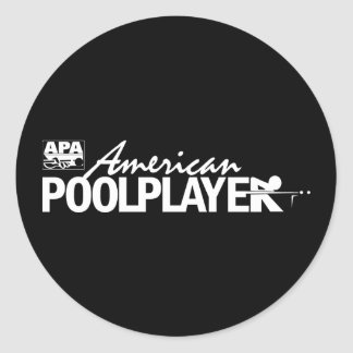 Custom American Pool Player - White Classic Round Sticker